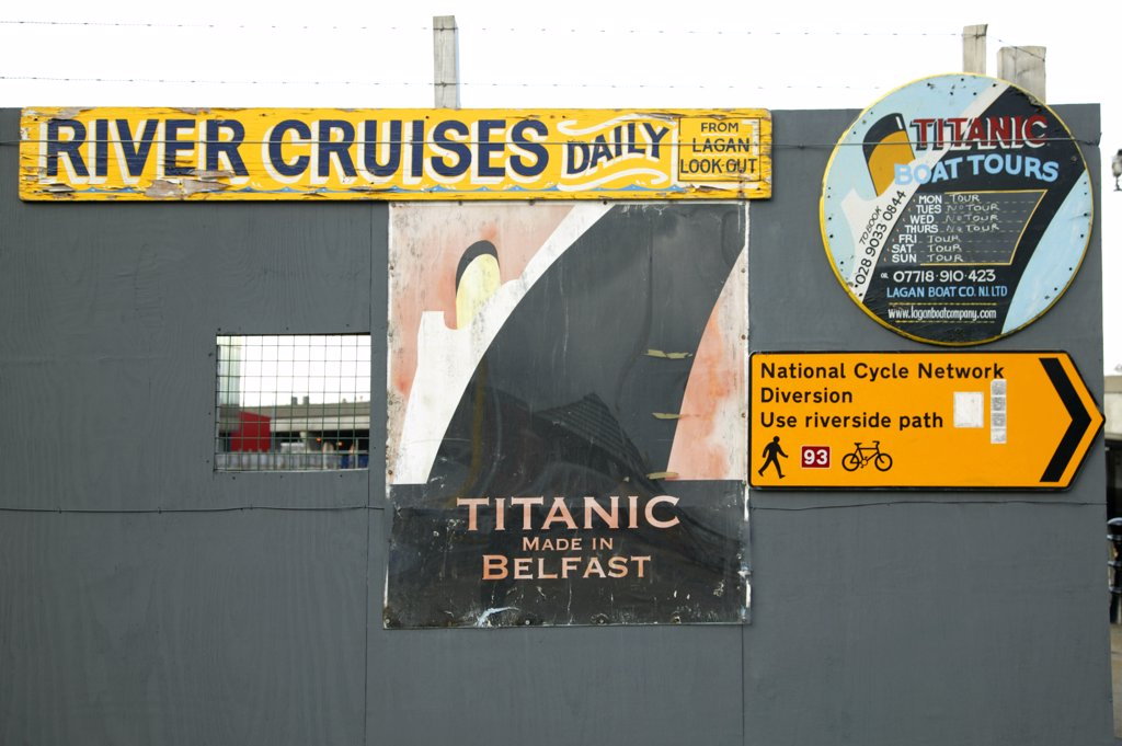 Stock Photo: 4282-1137 Northern Ireland, Belfast, Belfast. Signs for boat and river cruises tours at the quay in Belfast.