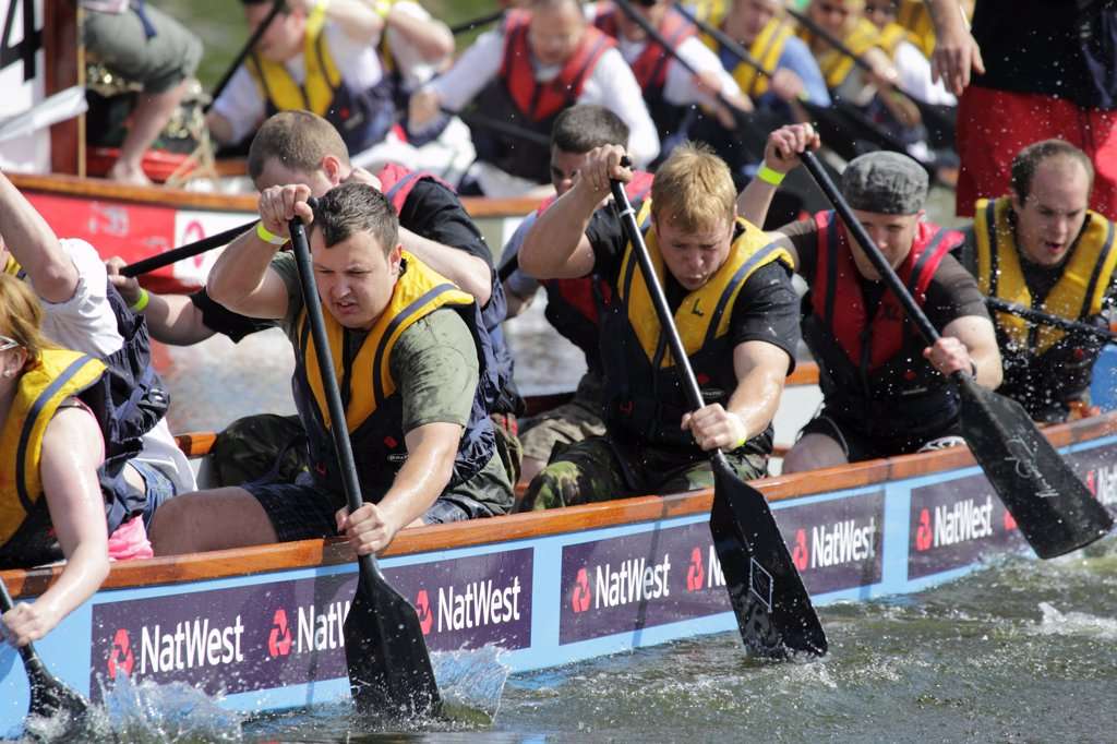 Stock Photo: 4282-11578 England, Oxfordshire, Abingdon. Dragon boat racing at the annual fund raising event on the River Thames at Abingdon.