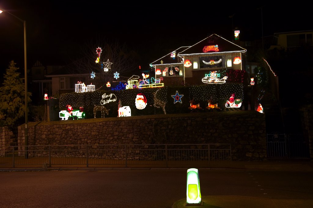 Stock Photo: 4282-1172 England, Devon, Torquay. A house covered in Christmas lights