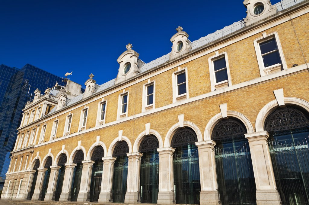Stock Photo: 4282-11811 England, London, City of London. Old Billingsgate Market in the City of London. The Victorian building was home to Billingsgate fish market until it was relocated in 1982. It now serves as a hospitality and events venue.