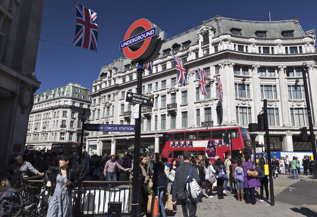Stock Photo: 4282-11924 England, London, Oxford Circus. Union Jacks strung across Oxford Circus to celebrate the Royal Wedding between Prince William and Catherine Middleton.