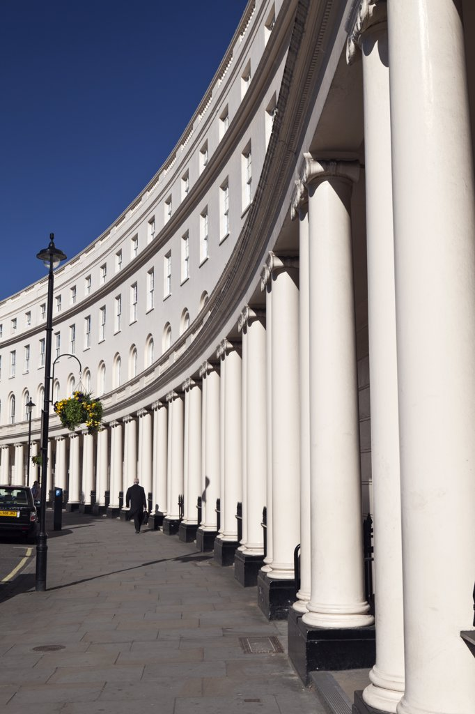 Stock Photo: 4282-11927 England, London, Park Crescent. Stuccoed semicircular terraced houses by the architect John Nash in Park Crescent near Regent's Park.