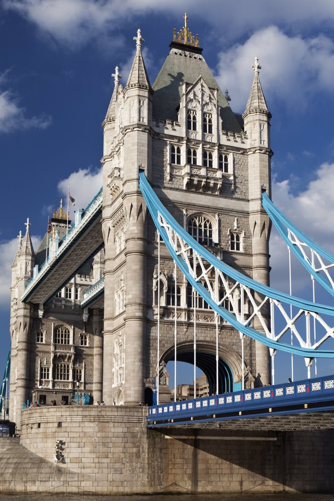 Stock Photo: 4282-12002 England, London, Tower Bridge. Tower Bridge over the River Thames, one of London's most famous and iconic landmarks.