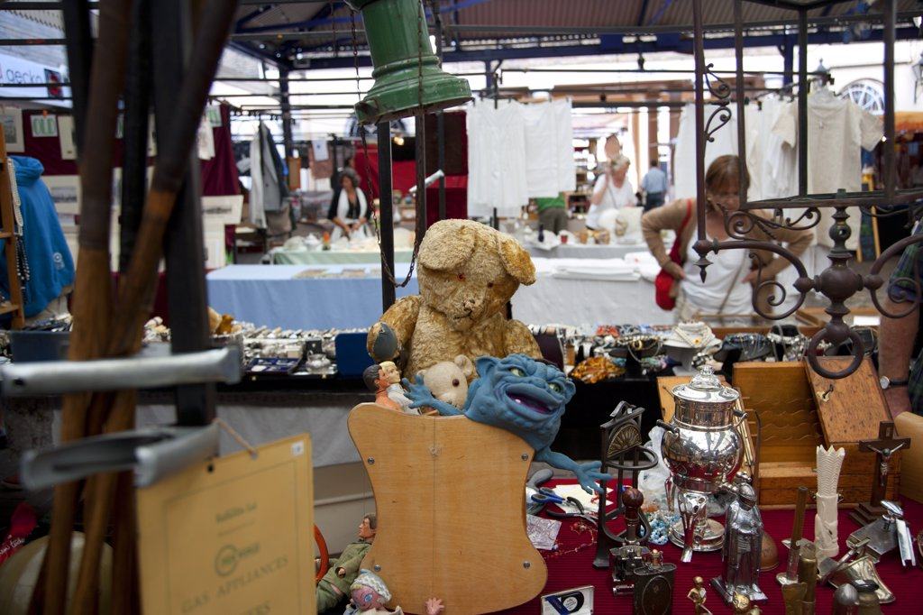 Stock Photo: 4282-1214 England, London, Greenwich. Bric-a-brac for sale on a stall inside Greenwich Market.