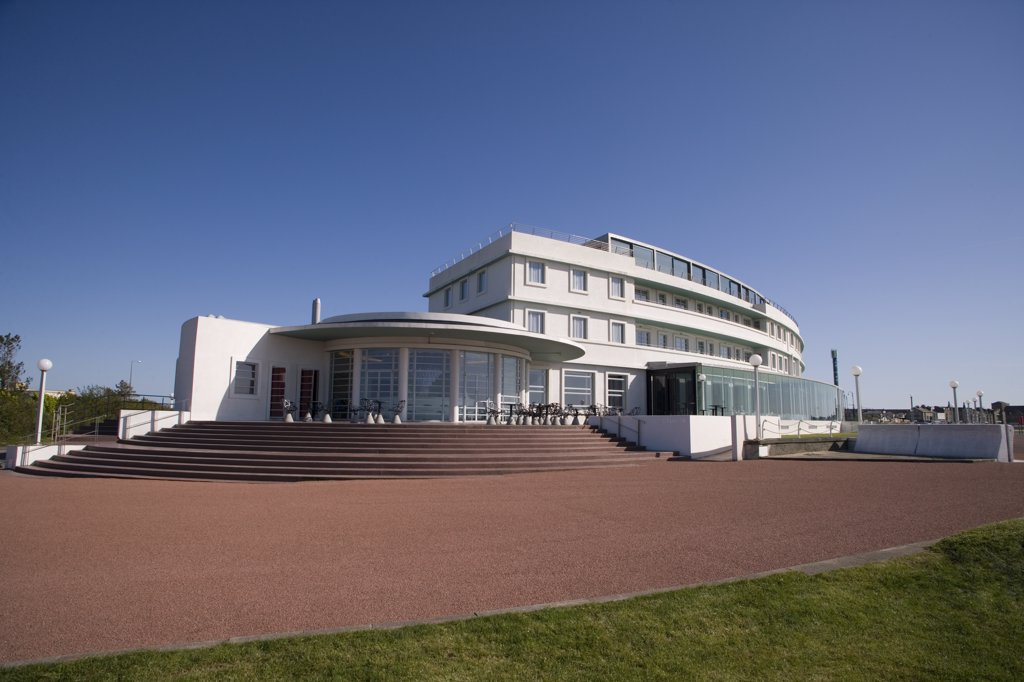 Stock Photo: 4282-1218 England, Lancashire, Morecambe Bay. The Midland Hotel, an Art-Deco classic on the seafront in Morecambe Bay.