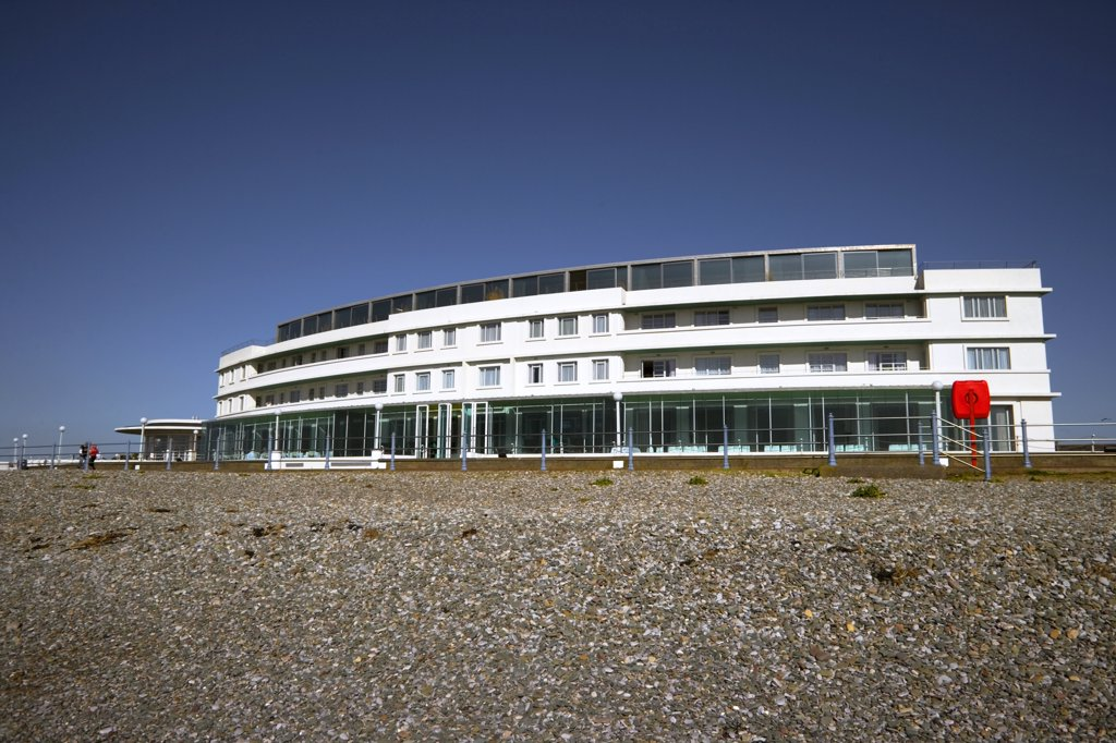 England, Lancashire, Morecambe Bay. The Midland Hotel, an Art-Deco classic on the seafront in Morecambe Bay. : Stock Photo