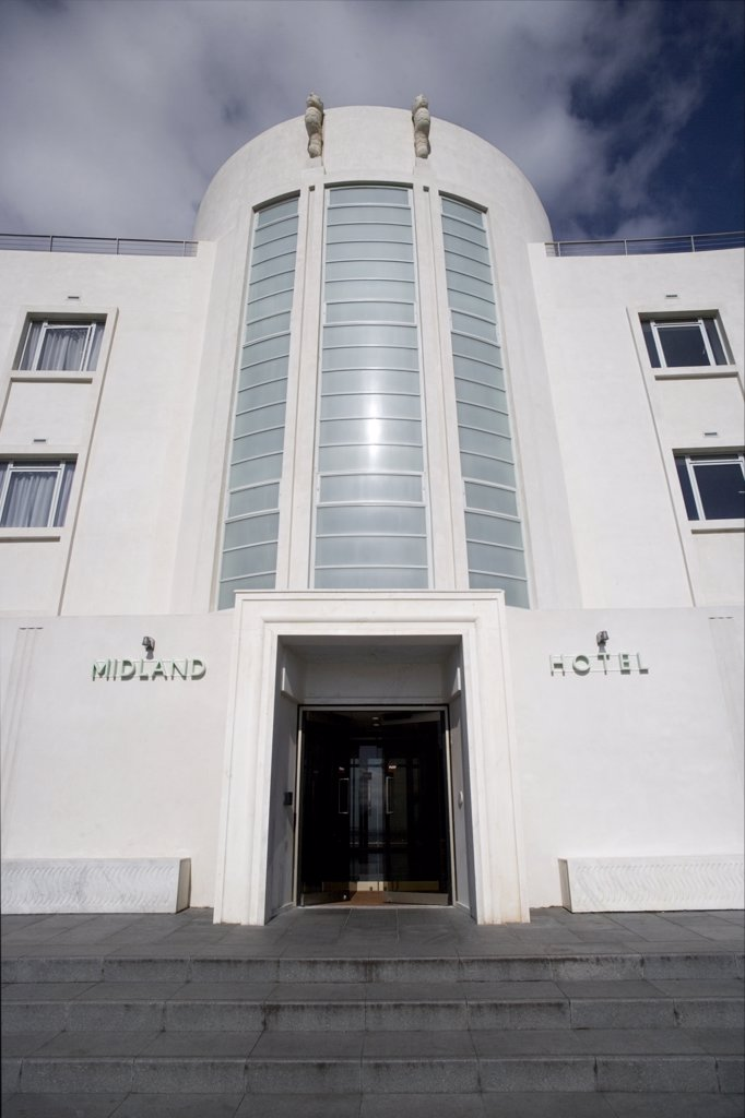 Stock Photo: 4282-1222 England, Lancashire, Morecambe Bay. The entrance of The Midland Hotel, an Art-Deco classic on the seafront in Morecambe Bay.