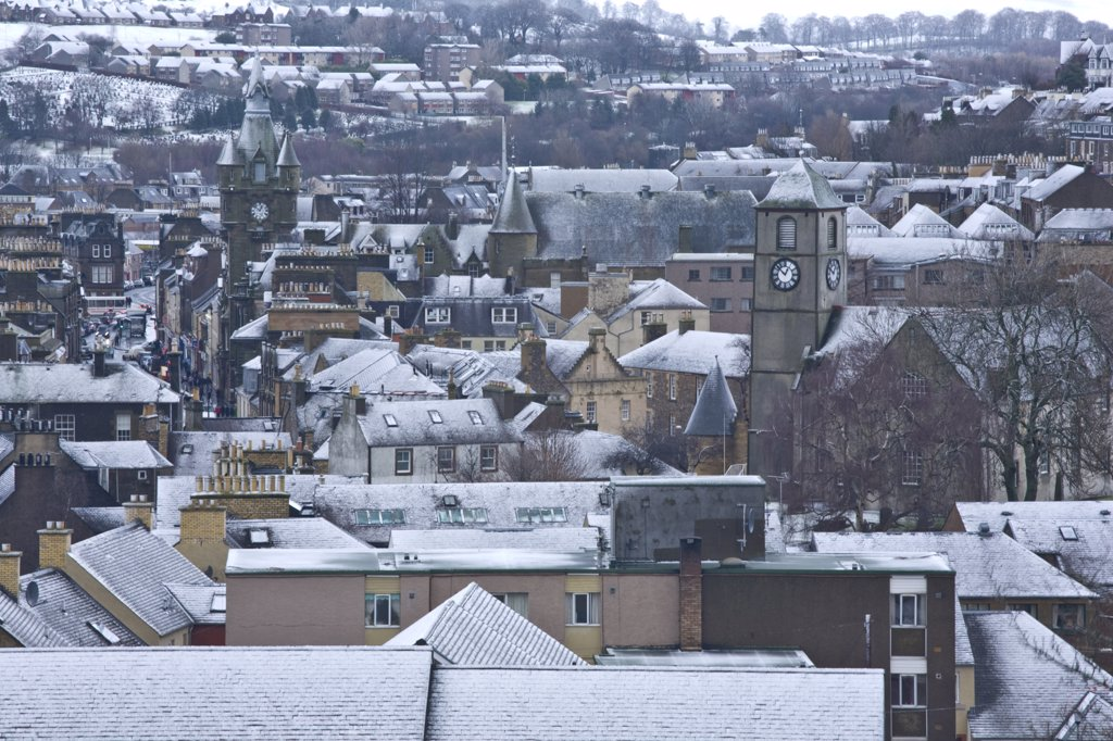 Stock Photo: 4282-12311 Scotland, Scottish Borders, Hawick. Looking across the skyline of the historic town of Hawick.
