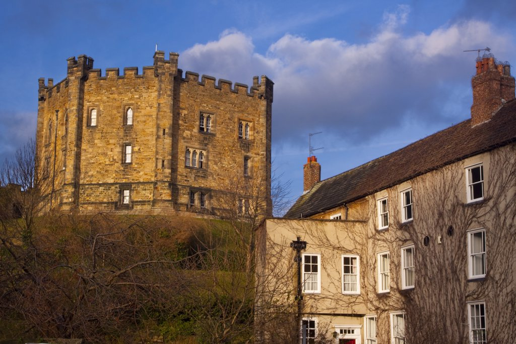 Stock Photo: 4282-12611 England, County Durham, Durham. Durham Castle Keep and neighbouring house.