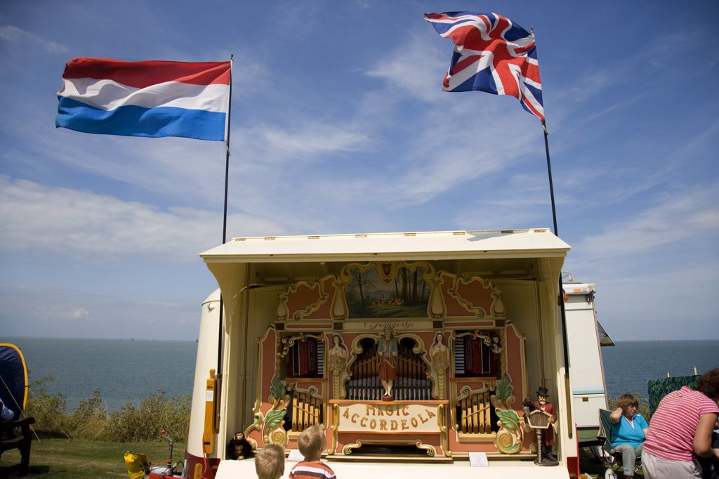 Stock Photo: 4282-1262 England, Kent, Whitstable. A 41-key Heesbeen 'Magic Accordeola' fair organ by the seafront at a fair in Whitstable.