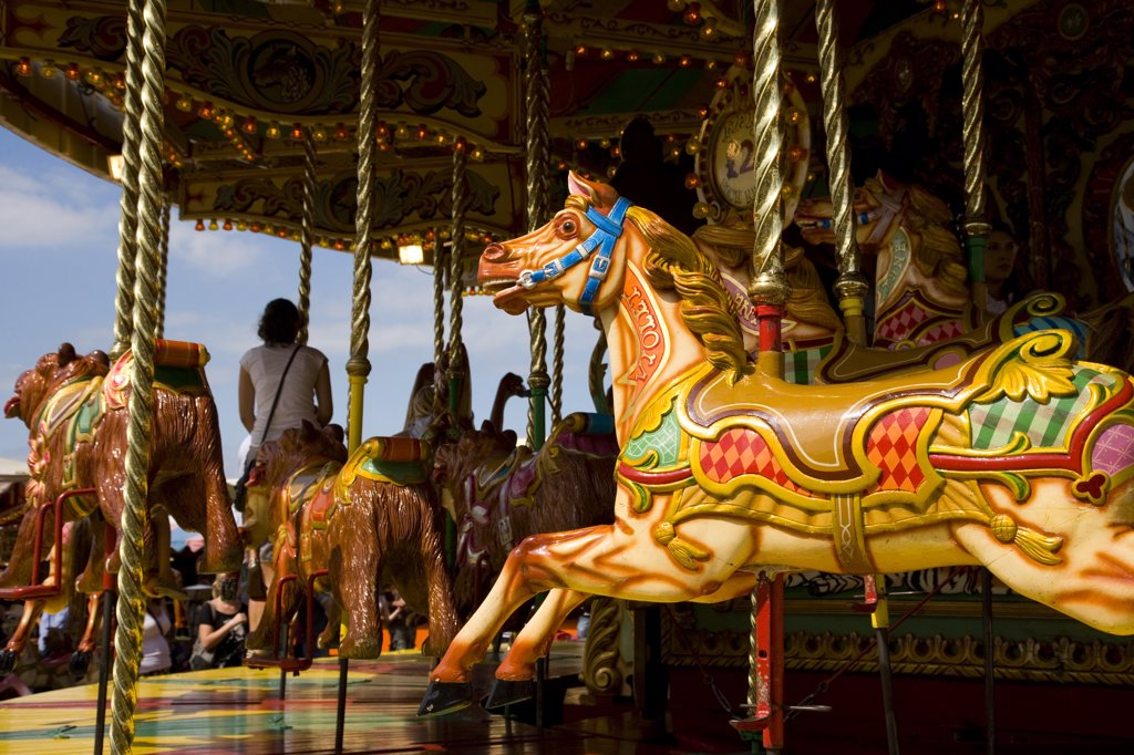 Stock Photo: 4282-1266 England, Kent, Whitstable. A painted horse on a traditional carousel at a fair in Whitstable.