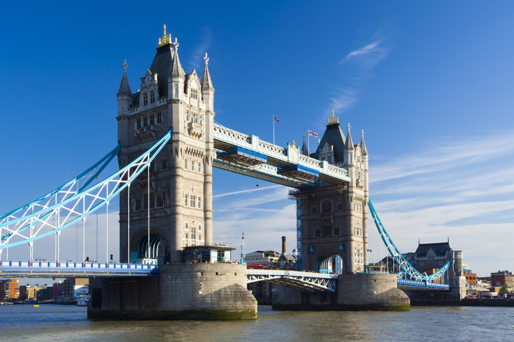 Stock Photo: 4282-12814 England, London, Tower Bridge. The iconic Tower Bridge which spans the River Thames near the Tower of London.
