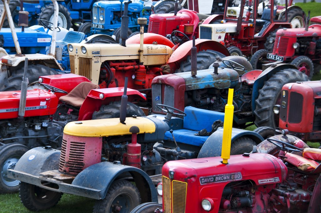 Stock Photo: 4282-13210 England, Northumberland, Berwick-upon-Tweed. A collection of vintage tractors.