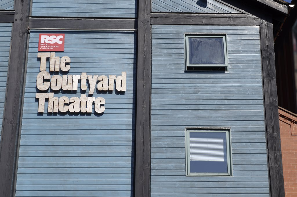 Stock Photo: 4282-1335 England, Warwickshire, Stratford-upon-Avon. A close up view of The Courtyard Theatre, the RSC's (Royal Shakespeare Company) new theatre, opened in 2006.
