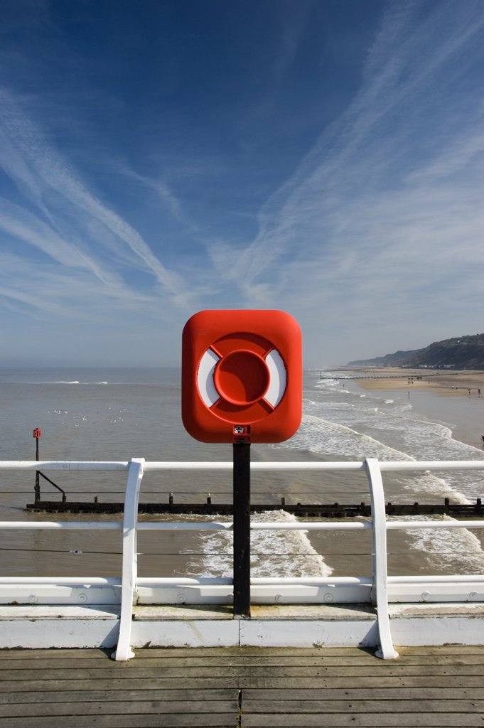 England, Norfolk, Cromer. A view over the beach at Cromer. Cromer is an Edwardian family seaside town famous for its succulent Cromer Crabs and local seafood restaurants. : Stock Photo