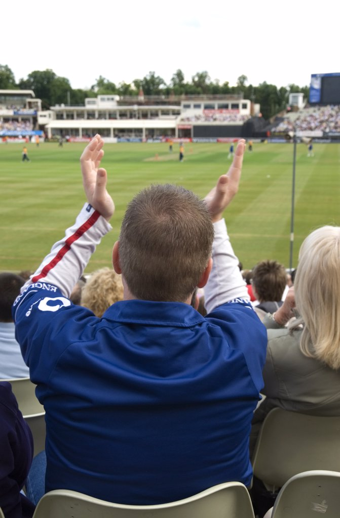 Stock Photo: 4282-14303 England, West Midlands, Edgbaston. English cricket fan at Edgbaston cricket ground. Cricket is the second biggest sport in the world and there are over one hundred cricket playing nations worldwide.