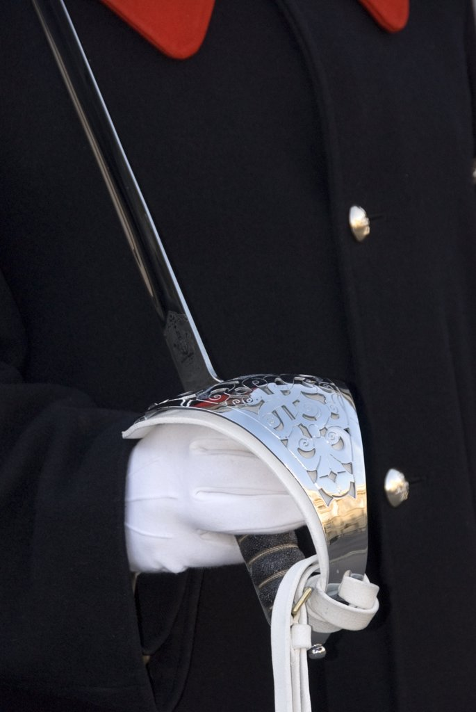 Stock Photo: 4282-14318 England, London, Buckingham Palace. Detail of Household Cavalry guard's uniform and sword handle. The Household Cavalry provides the Queen's Life Guard daily and Sovereign's Escort on state occasions.