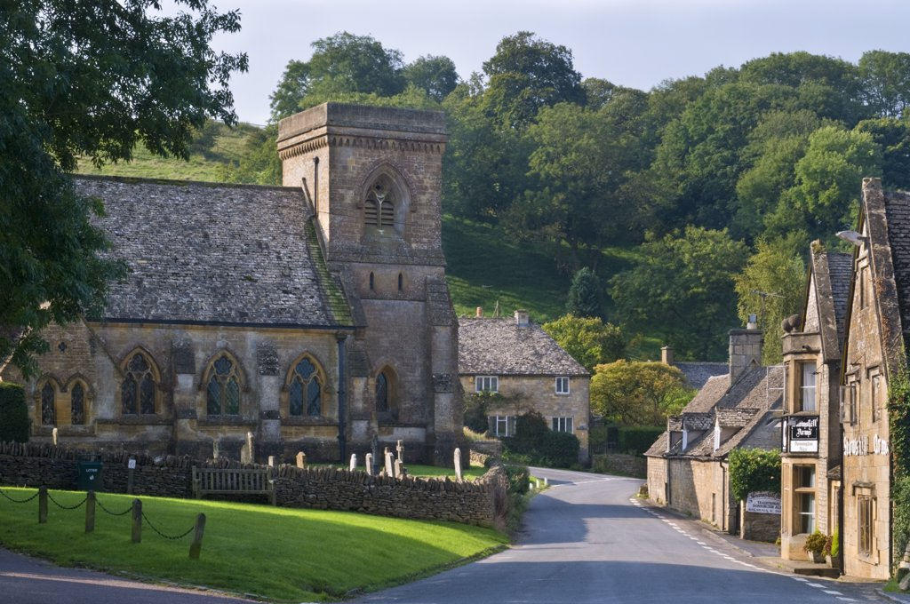 Stock Photo: 4282-14426 England, Gloucestershire, Snowshill. A view of the Church of St. Barnabas in the picturesque village of Snowshill.