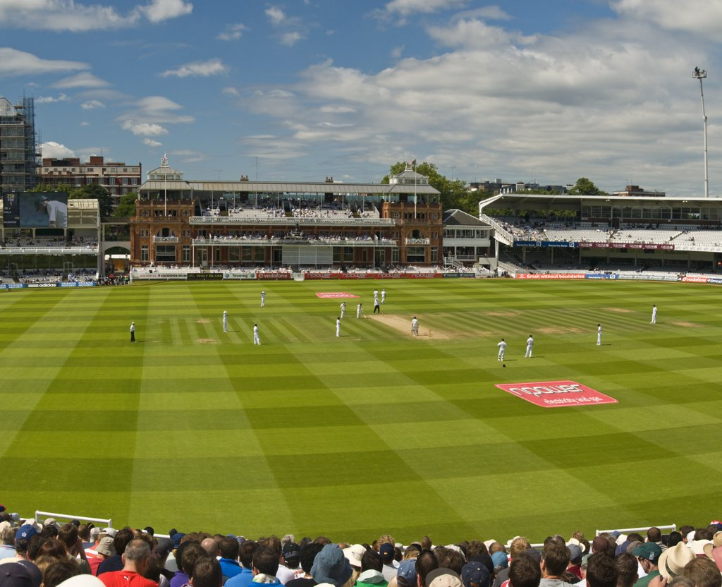 Stock Photo: 4282-14444 England, London, St John's Wood. Grandstand view of the England and  South Africa test match at Lords cricket ground.