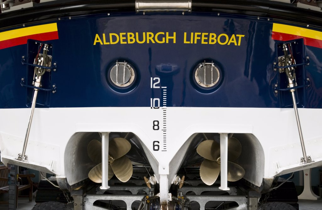 Stock Photo: 4282-14456 England, Suffolk, Aldeburgh. A close up of the back of a Aldeburgh lifeboat on the beach.