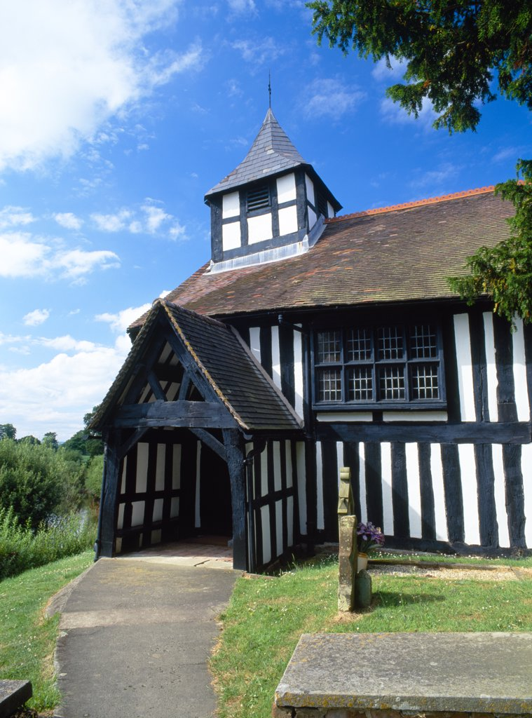 Stock Photo: 4282-14570 England, Shropshire, Melverley. St Peter's church dates mainly from around 1406 (porch and bell tower 1670) and is one of the very few completely timber-framed churches in Shropshire.