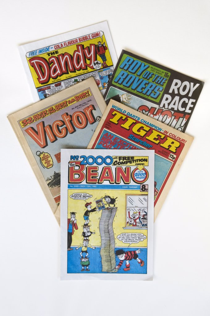 Stock Photo: 4282-14574 A selection of classic British comics, The Dandy, Roy of the Rovers, Victor, Tiger and The Beano.