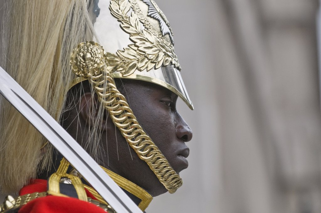 Stock Photo: 4282-14578 England, London, Whitehall. Side profile of a soldier of the Household Cavalry on guard duty at Horse Guards in Whitehall.