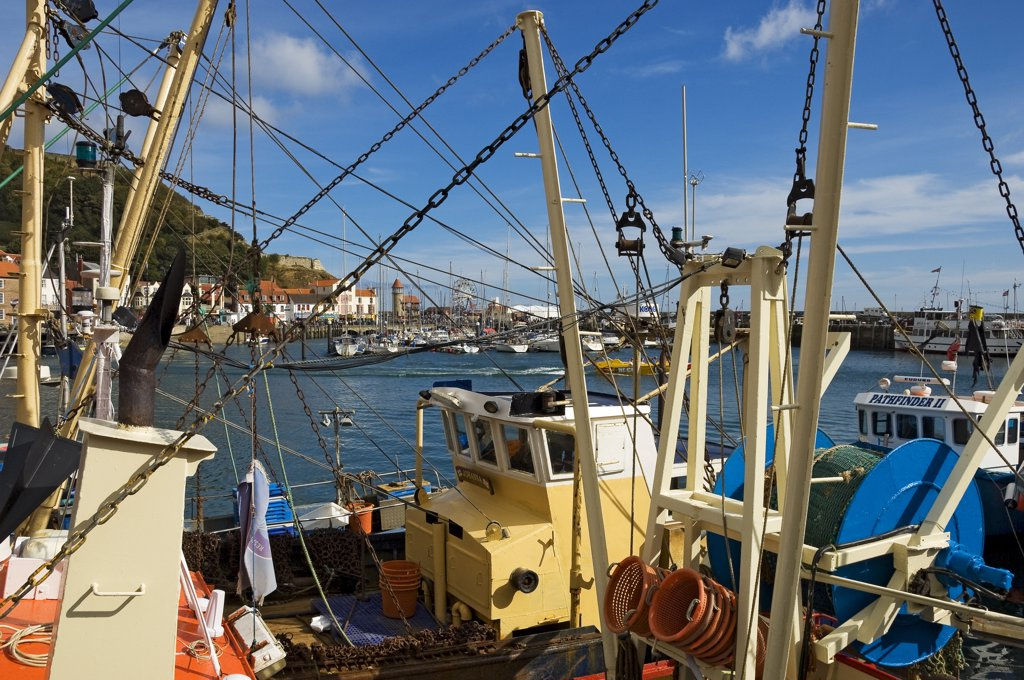 England, North Yorkshire, Scarborough. Fishing boats moored in Scarborough Inner Harbour. : Stock Photo