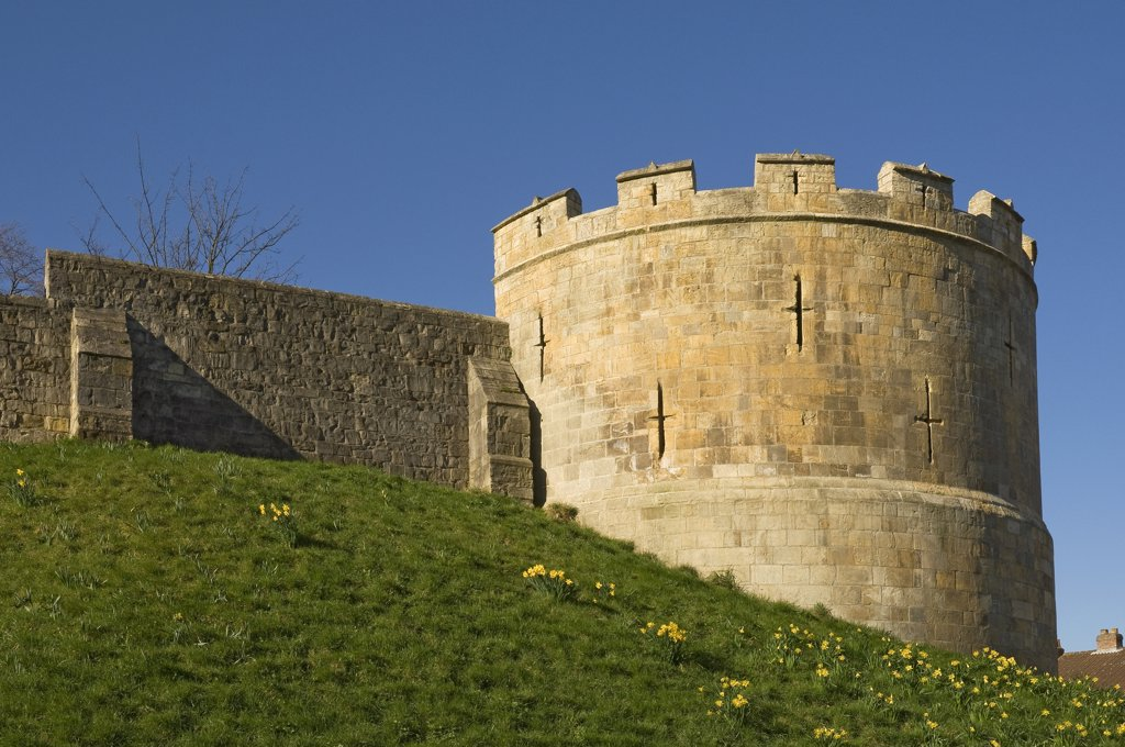 Stock Photo: 4282-14708 England, North Yorkshire, York. Robin Hood Tower, part of the York city walls Walls between Monk Bar and Bootham Bar.