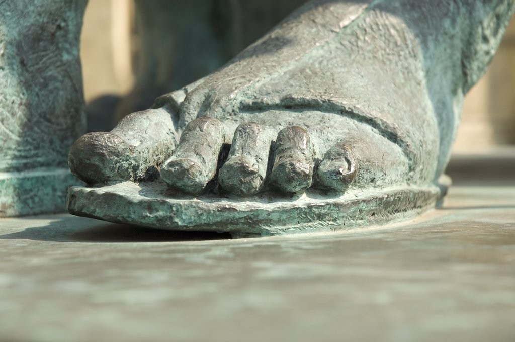 Stock Photo: 4282-14816 England, North Yorkshire, York. Close up of the foot of Constantine the Great bronze statue outside the South Transept of York Minster.