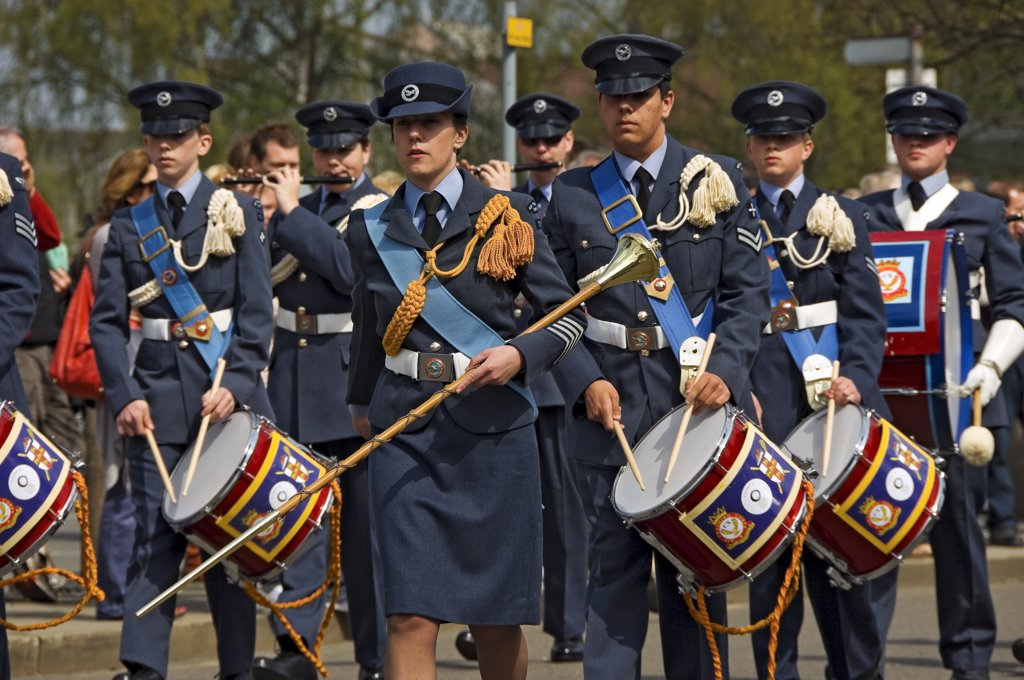 Stock Photo: 4282-14869 England, North Yorkshire, York. Young men and women in the band of the Air Training Corps band parading in the annual Saint George's Day parade.