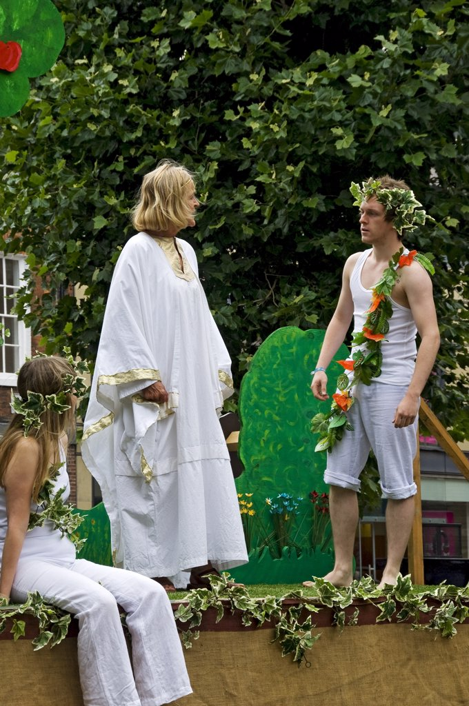 England, North Yorkshire, York. Performance of the Expulsion of Adam and Eve at the York Mystery Plays. : Stock Photo