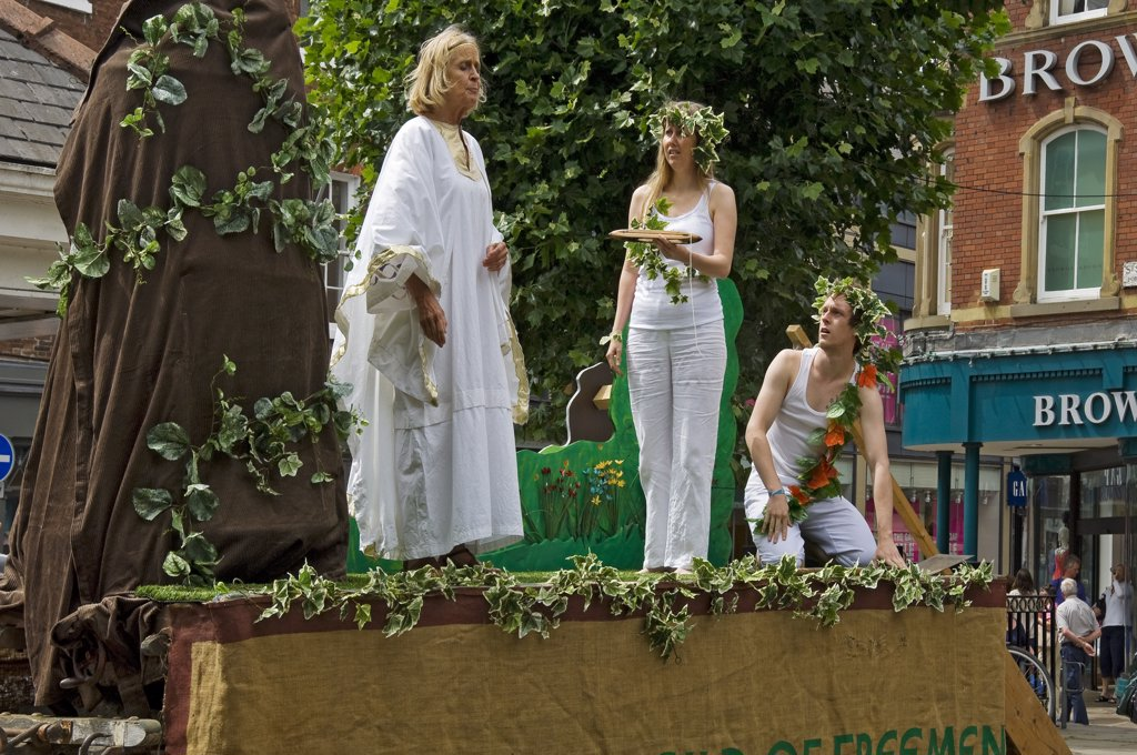 Stock Photo: 4282-15029 England, North Yorkshire, York. Performance of the Expulsion of Adam and Eve at the York Mystery Plays.