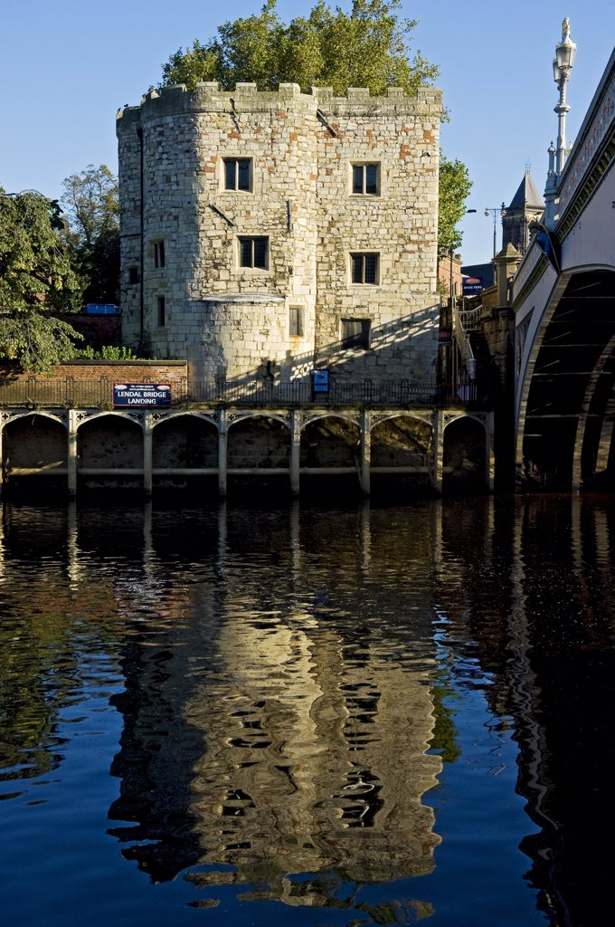 Stock Photo: 4282-15134 England, North Yorkshire, York. Lendal Tower by Lendal Bridge over the River Ouse.