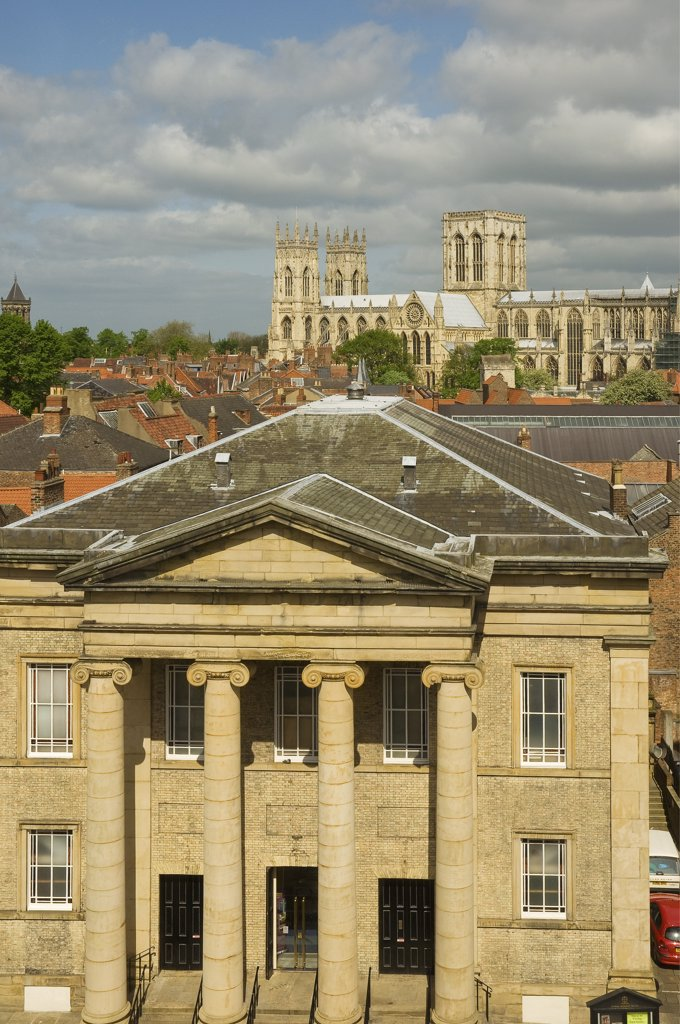 Stock Photo: 4282-15448 England, North Yorkshire, York. A view over the Central Methodist Church with York Minster in the background.
