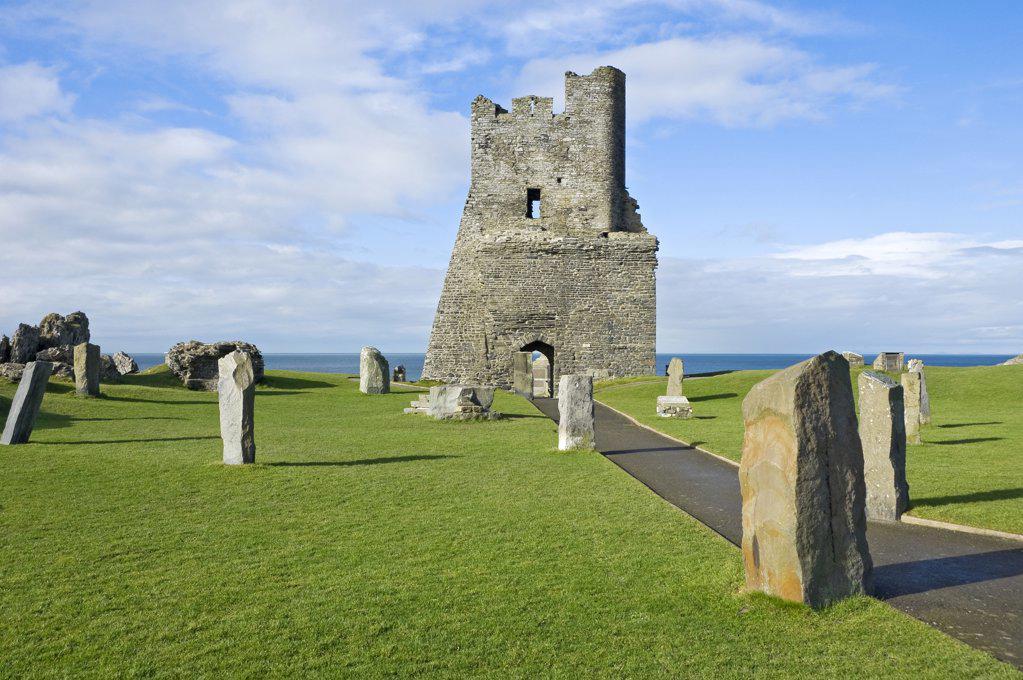 Stock Photo: 4282-15507 Wales, Ceredigion, Aberystwyth. Ruins of Aberystwyth Castle built in 1277 by King Edward I.