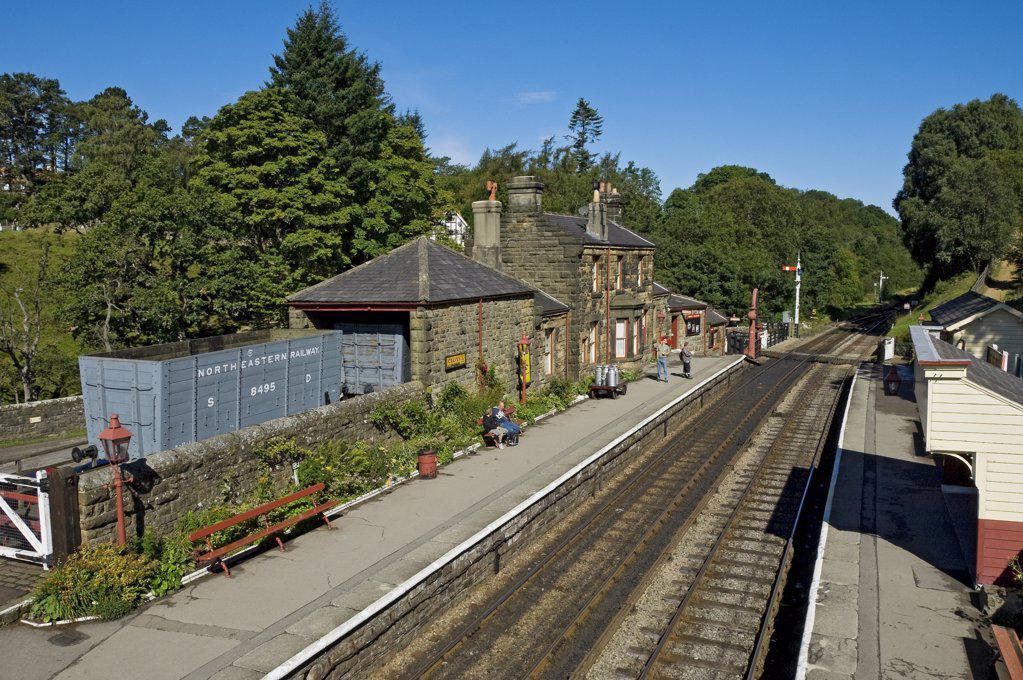 Stock Photo: 4282-15656 England, North Yorkshire, Goathland. Goathland railway station on the North Yorkshire Moors Railway.