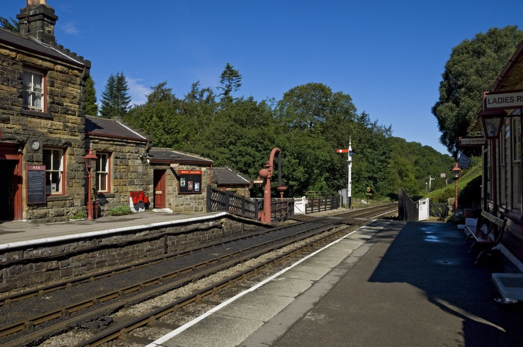 Stock Photo: 4282-15657 England, North Yorkshire, Goathland. Goathland railway station on the North Yorkshire Moors Railway.