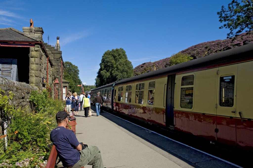 Stock Photo: 4282-15662 England, North Yorkshire, Goathland. A train alongside a platform at Goathland railway station on the North Yorkshire Moors Railway.