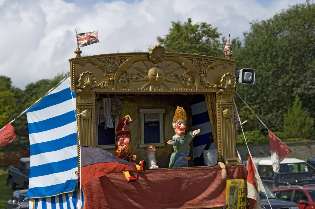 Stock Photo: 4282-15845 England, North Yorkshire, Gargrave. A Punch and Judy at Gargrave Show, an annual country show near Skipton.