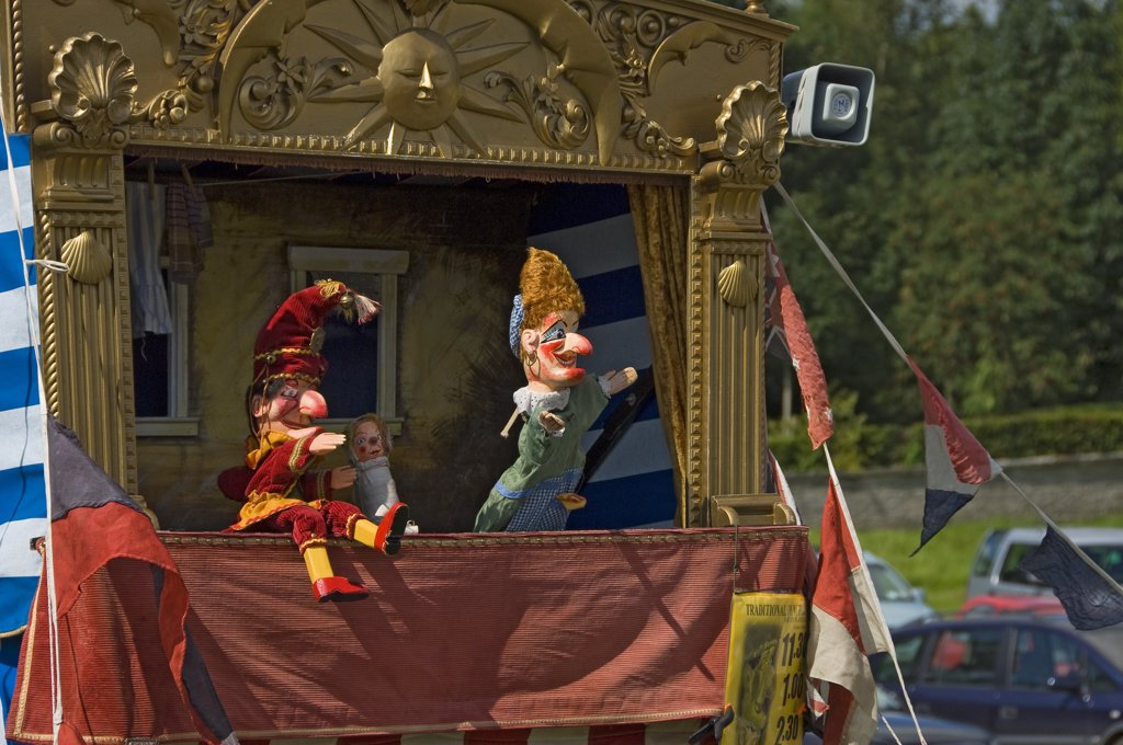 Stock Photo: 4282-15846 England, North Yorkshire, Gargrave. A Punch and Judy at Gargrave Show, an annual country show near Skipton.