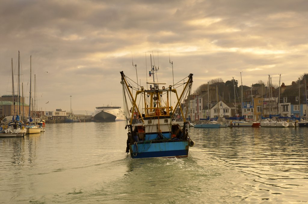 Stock Photo: 4282-16036 England, Dorset, Weymouth. A large fishing trawler leaving Weymouth's old harbour.