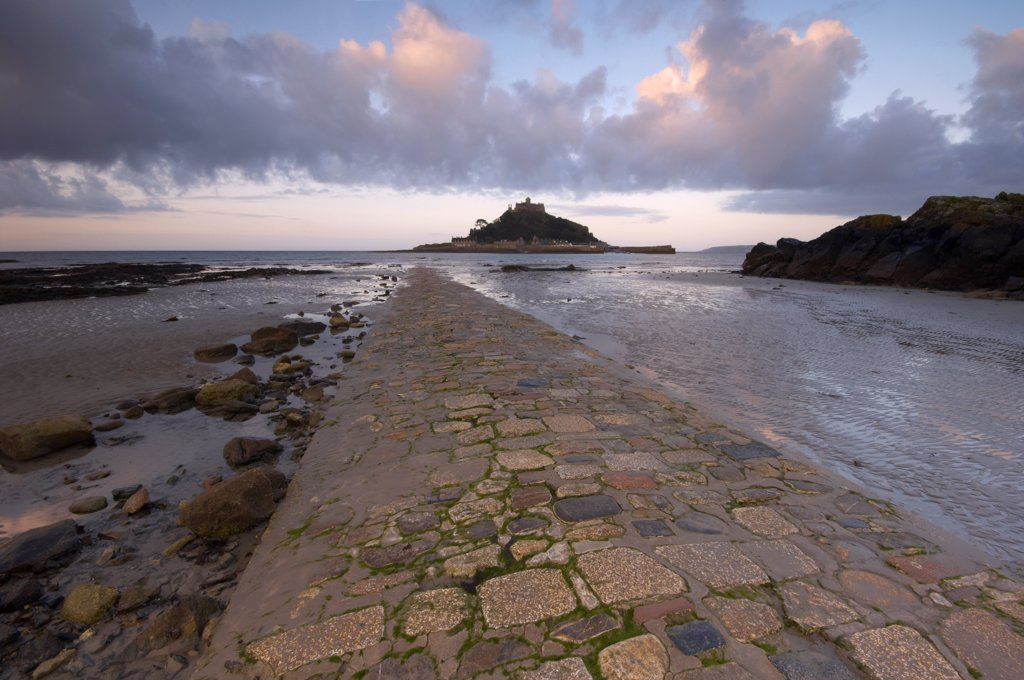 Stock Photo: 4282-16085 England, Cornwall, Penzance. The old stone causeway leading to St Michaels Mount exposed at low tide.