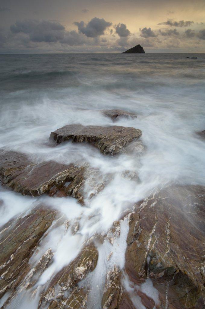 Stock Photo: 4282-16255 England, Devon, Wembury Bay. Stormy seas at the Great Mewstone and Wembury Bay.