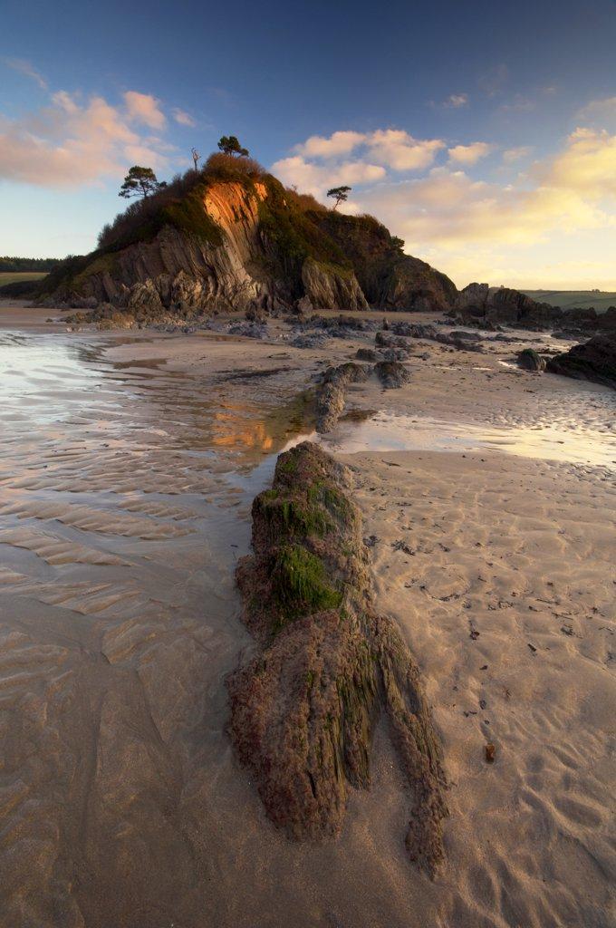 England, Devon, Mothecombe. Mothecombe beach at dawn. : Stock Photo