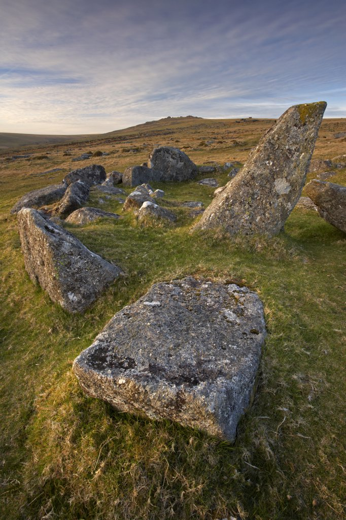 Stock Photo: 4282-16467 England, Devon, Dartmoor. Remnants of a stone hut circle at Merrivale settlement on Dartmoor.