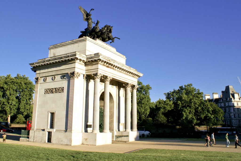 Stock Photo: 4282-16737 England, London, Wellington Arch. The Wellington Arch in London against a clear blue summer sky.