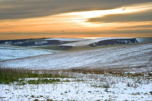 Stock Photo: 4282-16858 England, West Sussex, Devil's Dyke. Winter sunset over agricultural fields at Devil's Dyke, the largest dry valley in the UK.