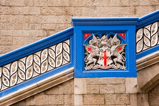 Stock Photo: 4282-16860 England, London, Tower Bridge. Coat of Arms of The City of London on Tower Bridge.