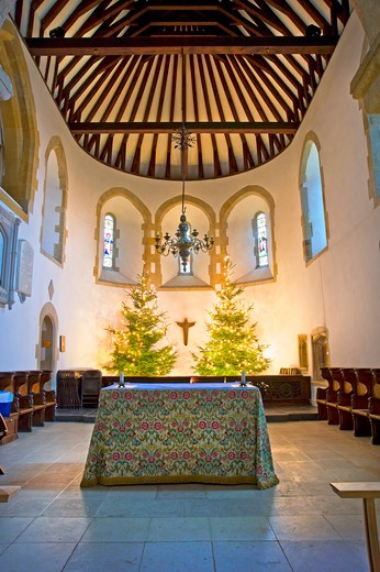 England, West Sussex, Worth. Interior of St. Nicholas Church in Worth, the 4th oldest church in the UK, originally dating back to the 10th century with Saxon and Norman influences. : Stock Photo